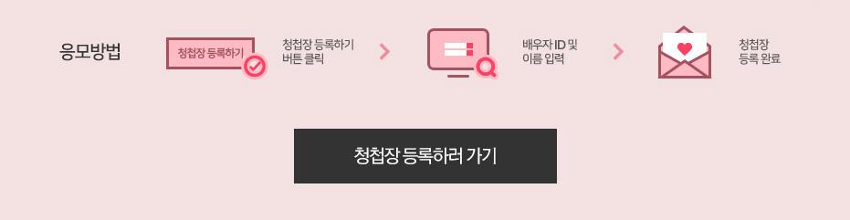 [응모방법]1.청첩장 등록하기 버튼 클릭, 2.배우자 아이디및 이름 입력, 3.청첩장 등록완료