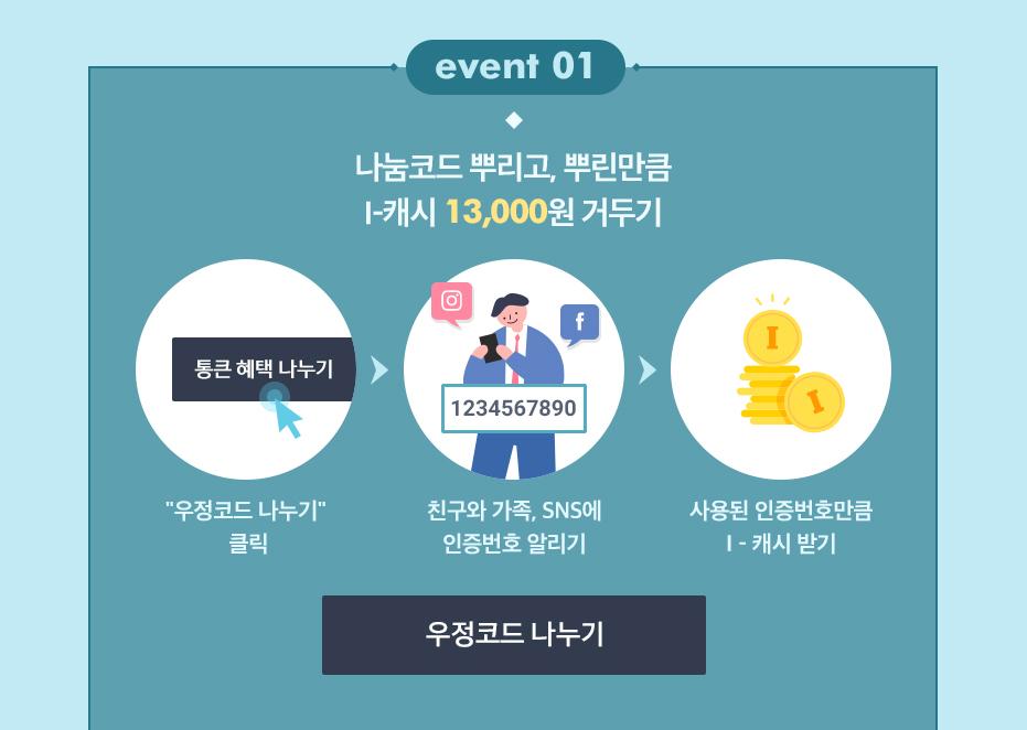[event01] 나눔코드 뿌리고 뿌린만큼 i-캐시 13,000원 거두기