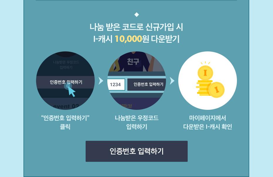 [event01] 나눔 받은 코드로 신규가입 시 i-캐시 10,000원  다운받기
