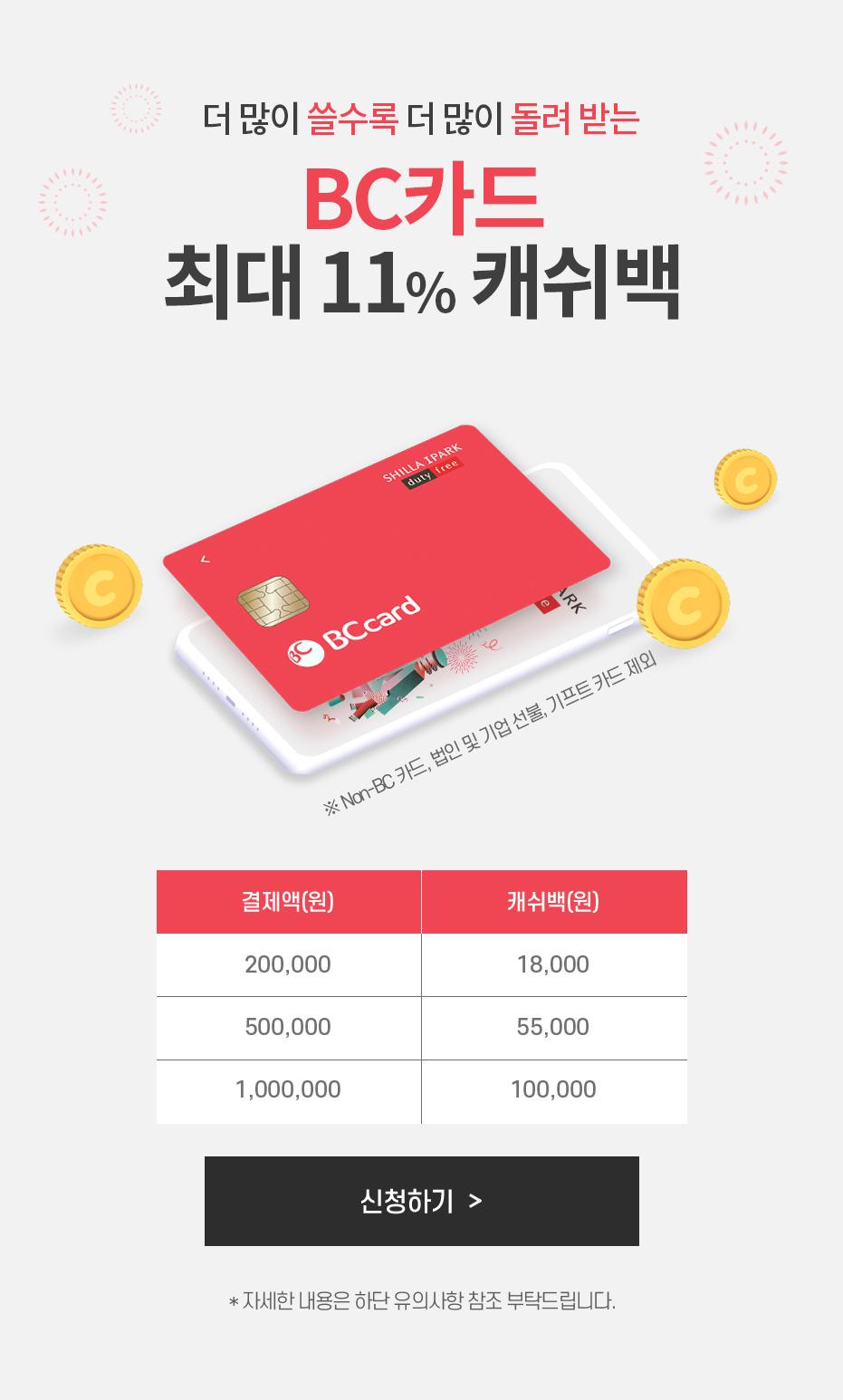 BC카드 캐쉬백 이벤트